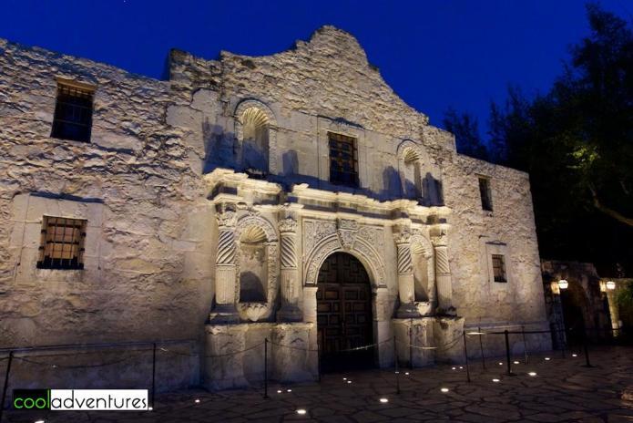 The Alamo at night, San Antonio, Texas