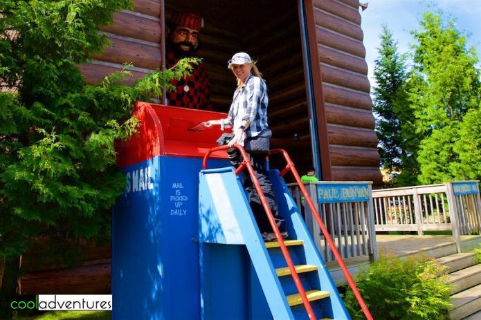 Kim Hull at Paul's mailbox, Paul Bunyan Land, Brainerd, Minnesota