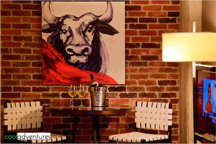 Brick walls and eclectic decor at Hotel Contessa on the River Walk