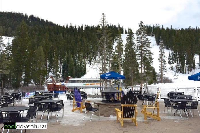 Solstice Plaza outdoor seating at Sierra at Tahoe