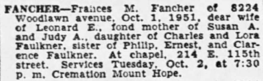Frances M. Fancher obituary, Chicago, Illinois, 2 Oct 1951