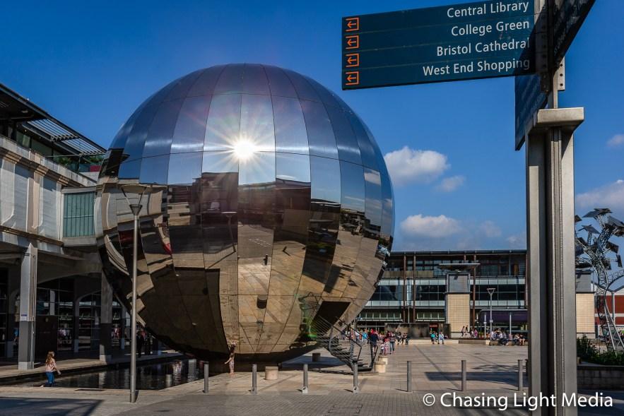 Mirrored glass dome housing the planetarium, Bristol, England