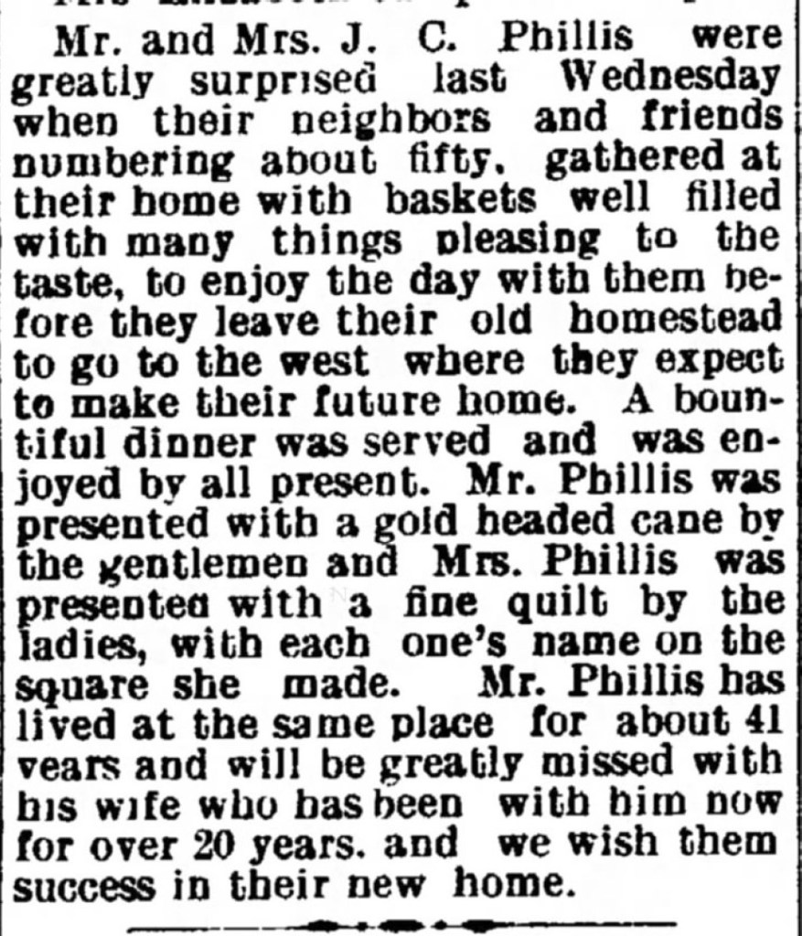 Farewell Dinner Held for Mr. and Mrs. J. C. Phillis, Cambridge, Guernsey County, Ohio, 23 Feb 1905