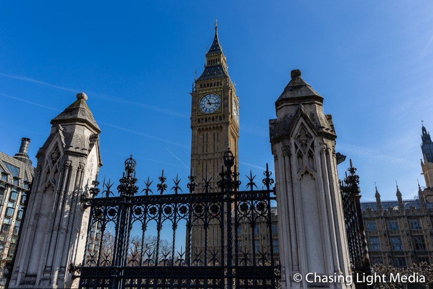 Big Ben towering above the gates, London, England