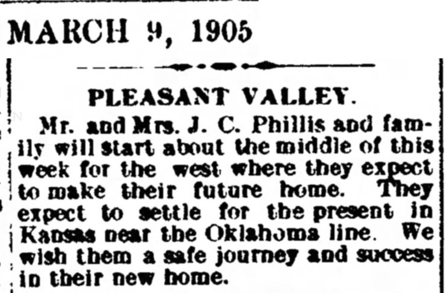 Mr. and Mrs. J. C. Phillis and Family Begin Move to Kansas, Pleasant Valley, Cambridge, Guernsey County, Ohio, 9 Mar 1905