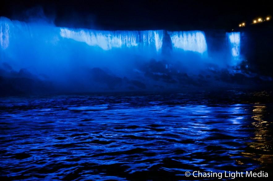Blue spotlights light up American Falls, Niagara Falls, Ontario,