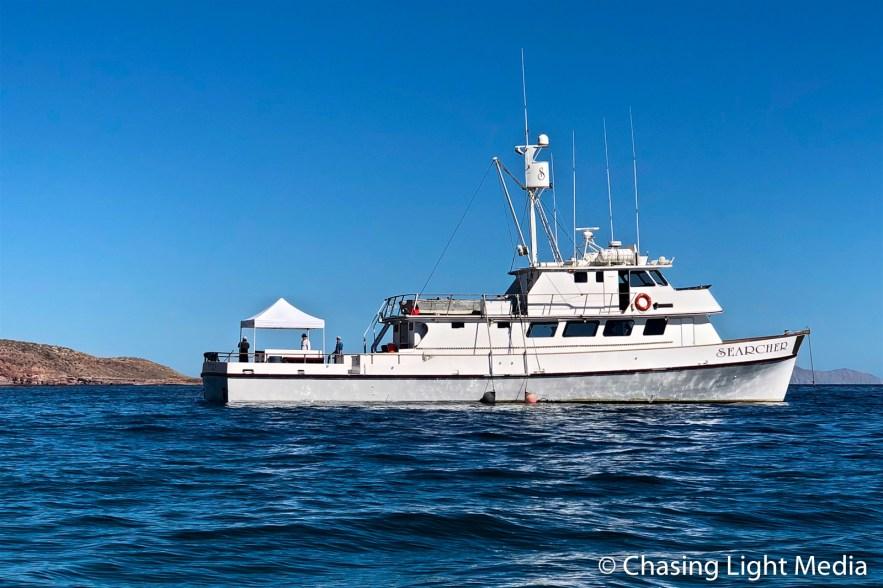 Searcher anchored off Punta Colorado, Isla San José