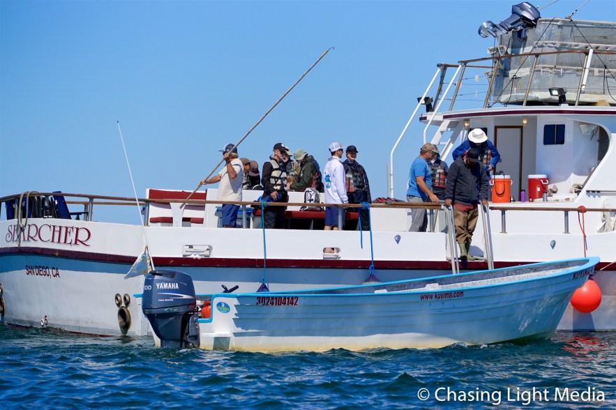 Boarding the pangas from the Searcher at Laguna San Ignacio