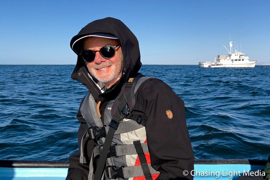 Greg Hull leaving the Searcher in a panga at Laguna San Ignacio