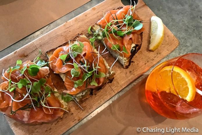 Smoked salmon bruschetta at Terroni, Toronto
