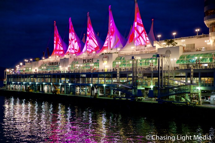 Canada Place illuminated, Vancouver, British Columbia, Canada