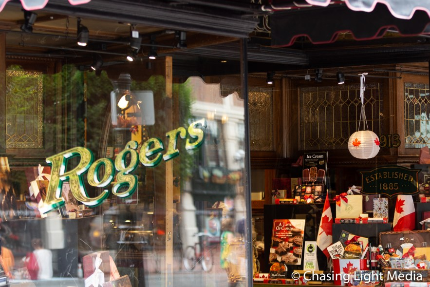 Colorful storefront of Rogers in Victoria, BC