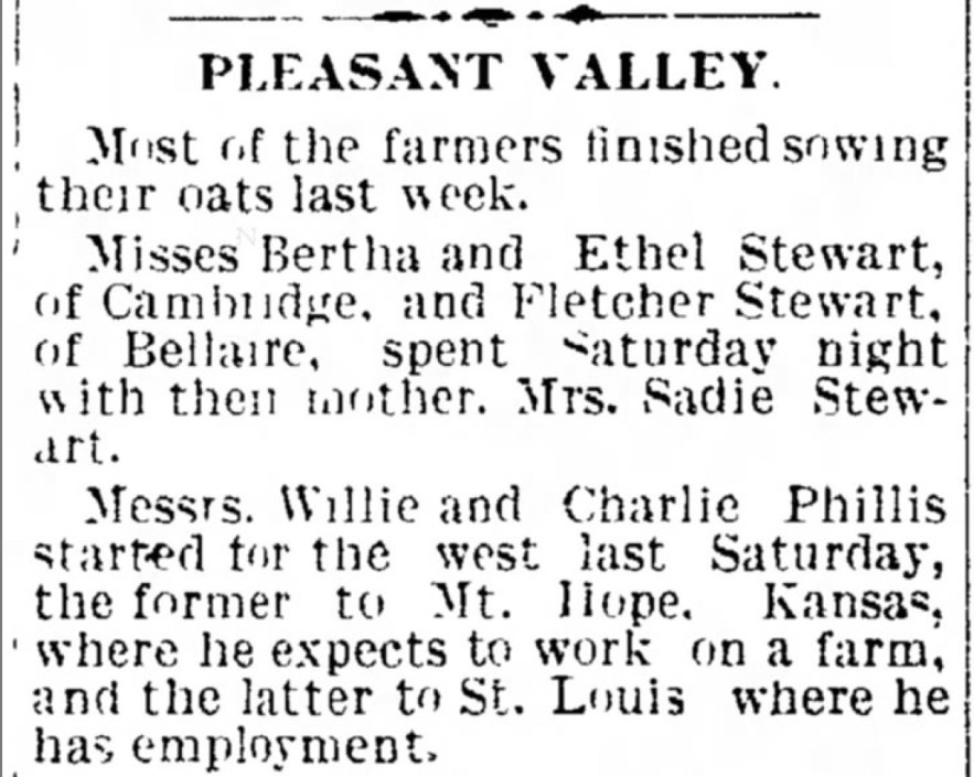 Willie and Charlie Phillis Head West to Kansas and Missouri, Cambridge, Guernsey County, Ohio, 12 May 1904
