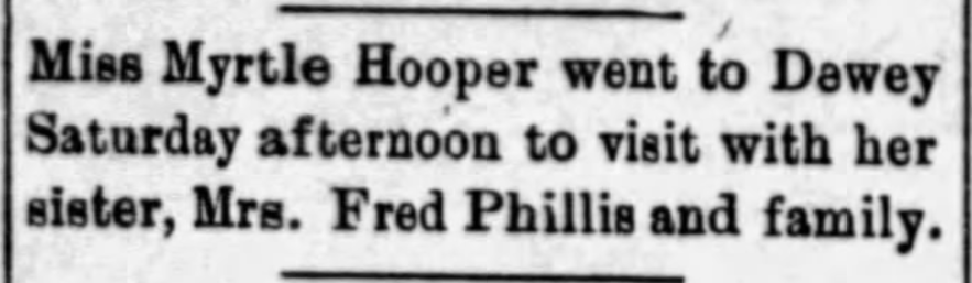 """""""Myrtle Hooper Visits Sister, Mrs. Fred Phillis, in Dewey,"""" news article, The Caney News (Caney, Kansas), 9 Aug 1912, p. 7, col. 4."""