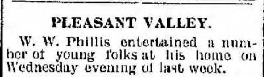 """""""W. W. Phillis Entertains Friends,"""" news article, Cambridge Jeffersonian (Cambridge, Ohio), 13 Mar 1902, p. 1, col. 4."""