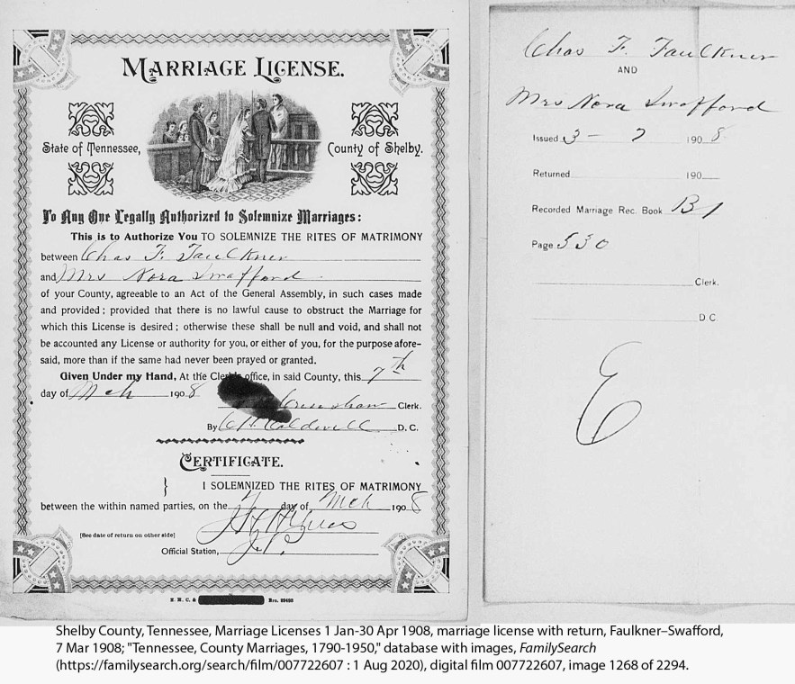 Faulkner, Charles Fountain and Lora Swafford marriage license and return, 1908
