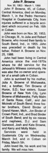 """John P. Browne,"" obituary, South Bend Tribune (South Bend, Indiana), 26 Mar 1999, p. 29, col. 3."
