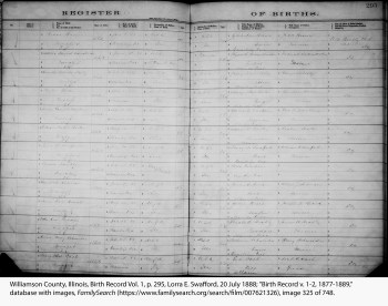 Williamson County, Illinois, Birth Record Vol. 1, p. 295, Lorra E. Swafford, 20 July 1888.