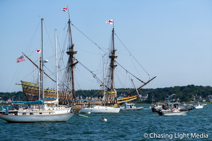 Mayflower II Arriving in Plymouth, Massachusetts