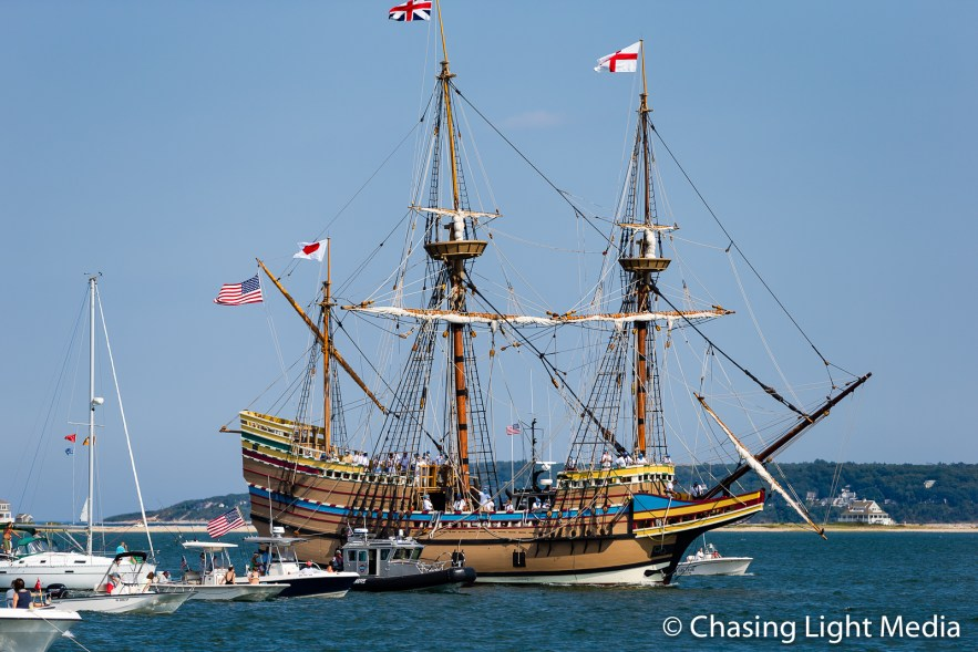 Mayflower II under tow, Plymouth, Massachusetts