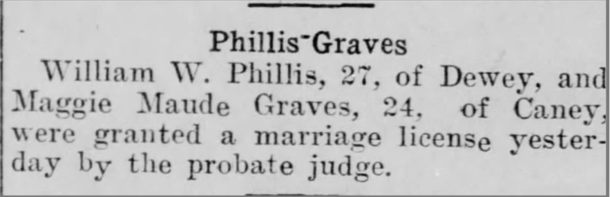 """Phillis-Graves Marriage License,"" news article, Evening Star (Independence, Kansas), 13 Jul 1911, p. 2, col. 2."