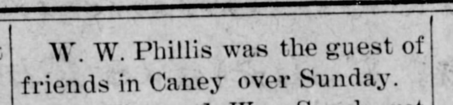 """W. W. Phillis Guests of Friends in Caney,"" news article, The Dewey World (Dewey, Oklahoma), 3 Sep 1908, p. 6, col. 3."