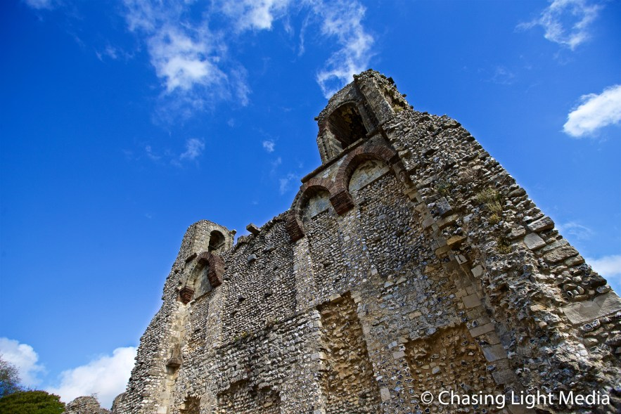 Towering wall at the ruins of Wolvesey Castle, Winchester