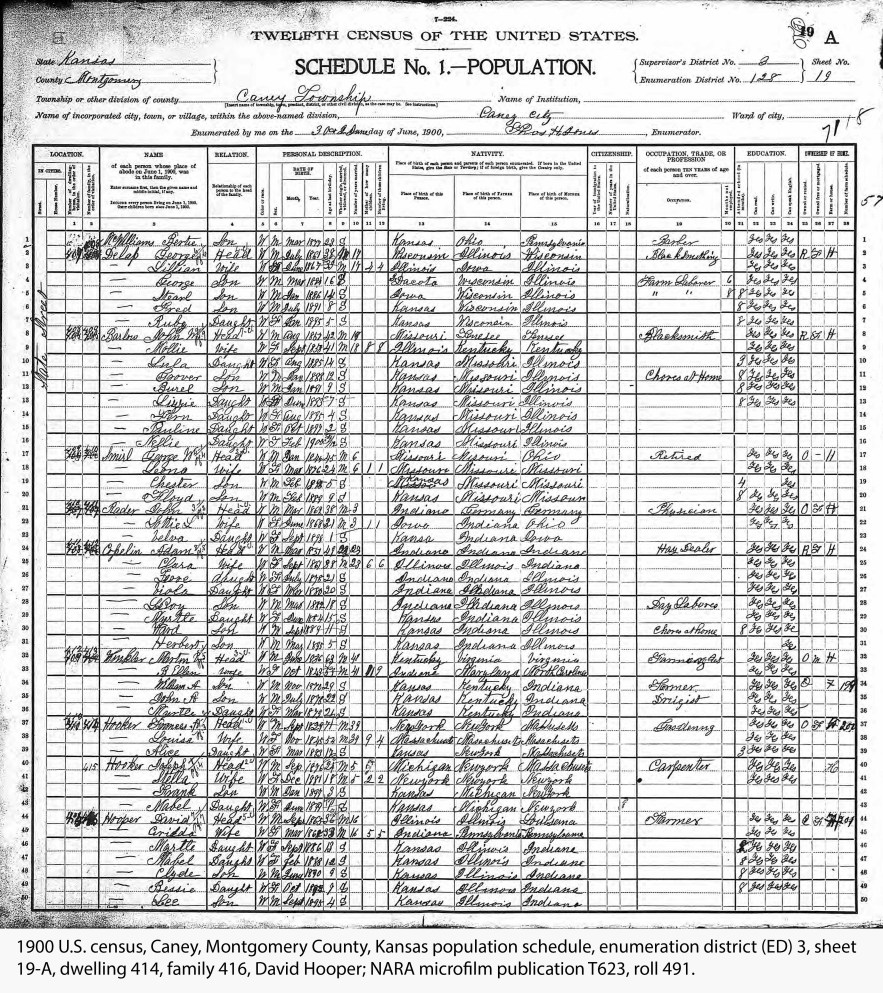 1900 U.S. census, Caney, Montgomery County, Kansas population schedule, enumeration district (ED) 3, sheet 19-A, dwelling 414, family 416, David Hooper; NARA microfilm publication T623, roll 491.