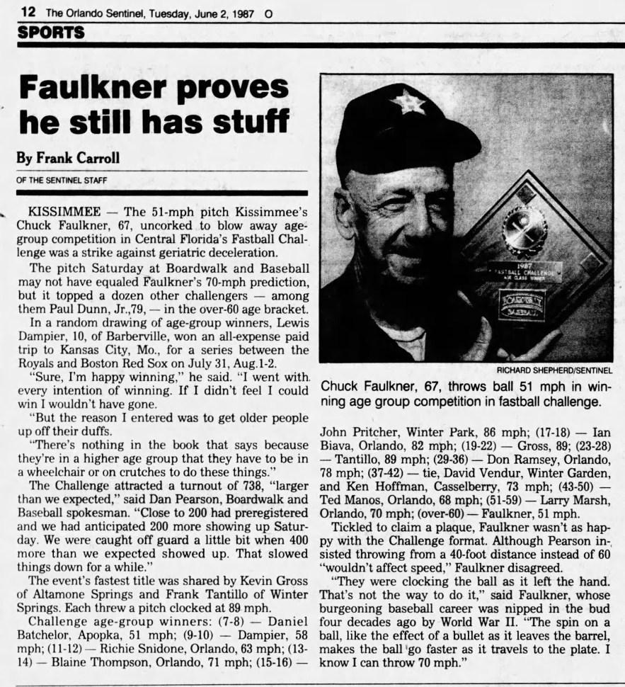 """Faulkner Proves He Still has Stuff,"" news article, The Orlando Sentinel (Orlando, Florida), 2 Jun 1987, p. 12, col. 1."