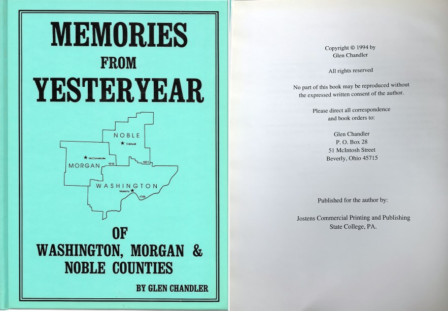 Memories From Yesteryear of Washington, Morgan, and Noble Counties, Glen Chandler, 1994.