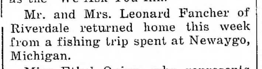 """Mr. and Mrs. Leonard Fancher Return from Fishing Trip in Michigan,"" news article, The Pointer (Riverdale, Illinois), 28 Aug 1936, p. 1, col. 4."