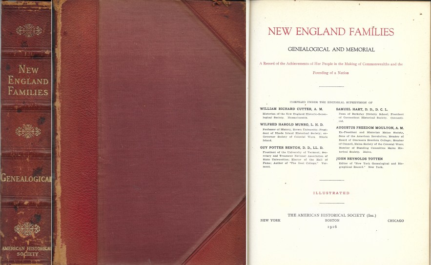 New England Families, Genealogical and Memorial, begins with George Frisbie Hoar, 404 pages, 1916