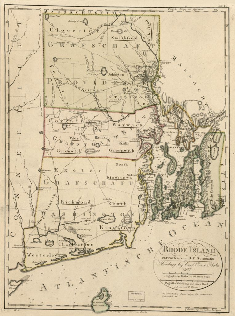 1797 Rhode Island map, Library of Congress, Geography and Map Division
