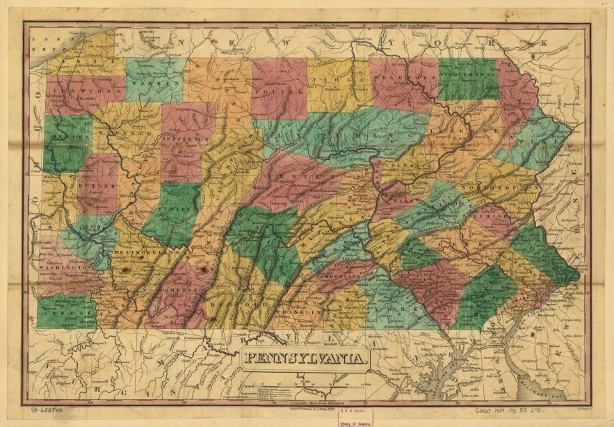 1829 Pennsylvania map, Library of Congress, Geography and Map Division