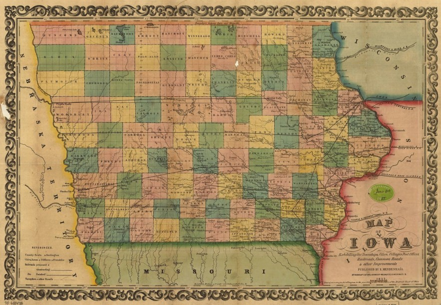 1855 Iowa map, Library of Congress, Geography and Map Division