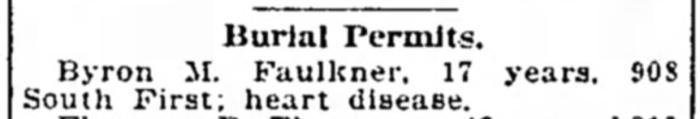 """Byron M. Faulkner, Burial Permit"" newspaper notice, The Courier-Journal (Louisville, Kentucky), 27 Dec 1913, p. 10, col. 5."