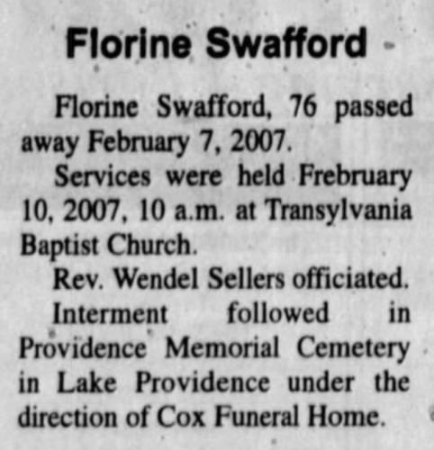 """Florine Swafford,"" funeral notice, The West Carroll Gazette (Oak Grove, Louisiana), 14 Feb 2007, p. 7, col. 4."