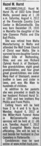 """Hazel M. Hurst,"" obituary, The Times Recorder (Zanesville, Ohio), 5 Aug 2012, p. 10, col. 5."
