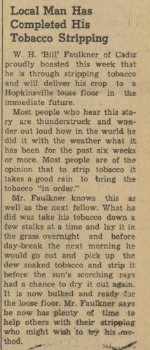 """Local Man Has Completed His Tobacco Stripping,"" news article, The Cadiz Record (Cadiz, Kentucky), 17 Oct 1963, p. 1, col. 7."