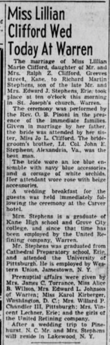 """""""Miss Lillian Clifford Wed Today at Warren,"""" Stephens–Clifford marriage announcement, The Kane Republican (Kane, Pennsylvania), 27 Feb 1954, p. 2, col. 2."""