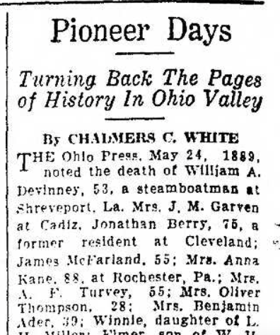 """""""Pioneer Days, Mrs. Benjamin Ader Death, age 39, 24 May 1899,"""" news article, Steubenville Weekly Herald (Steubenville, Ohio), 19 Sept 1936, p. 6, col. 6."""