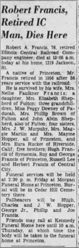 """R. A. Francis, Retired I.C. Man, Dies Here,"" obituary, The Paducah Sun (Paducah, Kentucky), 18 May 1960, p. 4, col. 7."