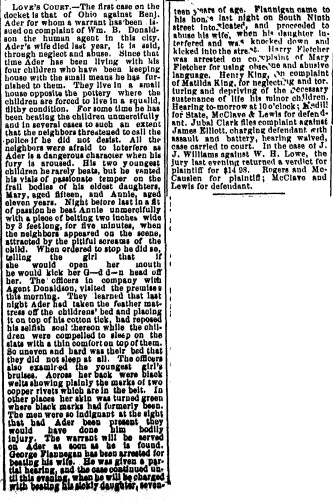 """State of Ohio vs. Benjamin Ader,"" news article, Steubenville Weekly Herald (Steubenville, Ohio), 8 Aug 1890, p. 5, col. 3."