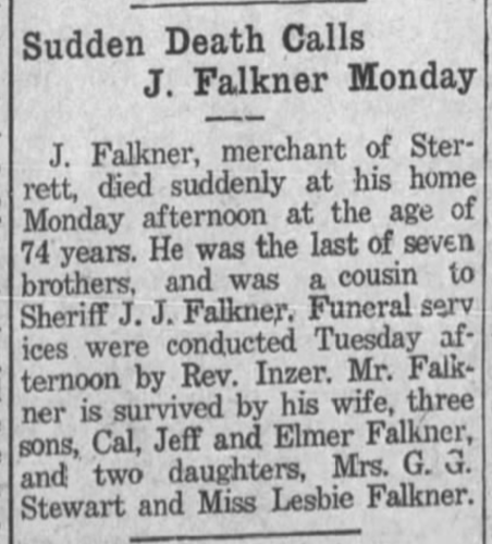 """Sudden Death Calls J. Falkner Monday,"" obituary, Shelby County Reporter (Columbiana, Alabama), 22 May 1924, p. 1, col. 2."