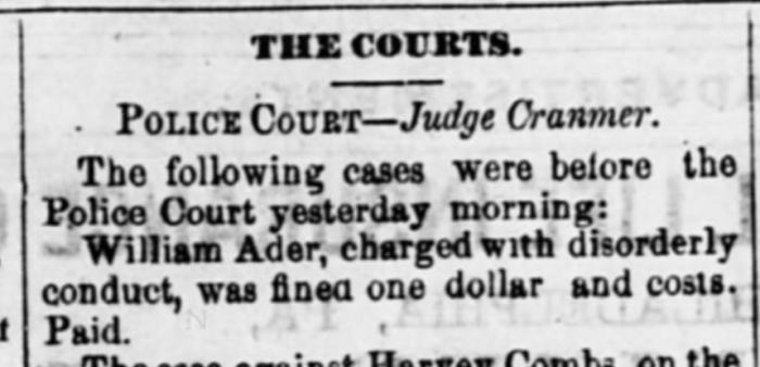 """""""The Courts, William Ader Fined,"""" newspaper notice, The Wheeling Daily Register (Wheeling, West Virginia), 11 Feb 1876, p. 4, col. 3."""