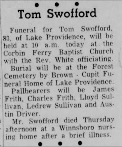 """Tom Swofford,"" obituary, Monroe Morning World, (Monroe, Louisiana), 12 Sep 1964, p. 16, col. 1."
