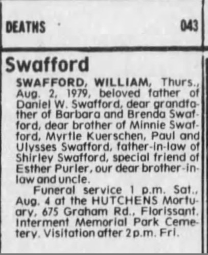 """William Swafford,"" obituary, St. Louis Post-Dispatch (St. Louis, Missouri), 3 Aug 1979, p. 19, col. 5."