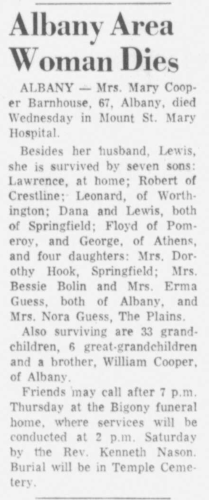 """""""Albany Area Woman Dies,"""" Mrs. Mary Cooper Barnhouse obituary, Athens Messenger (Athens, Ohio), 31 Mar 1960, p. 16, col. 5."""