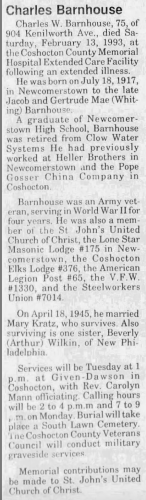 """Charles Barnhouse,"" obituary, The Tribune (Coshocton, Ohio), 14 Feb 1993, p. 7, col. 1."