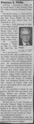 """Emerson S. Phillis,"" obituary, Marietta Times, May 1998."